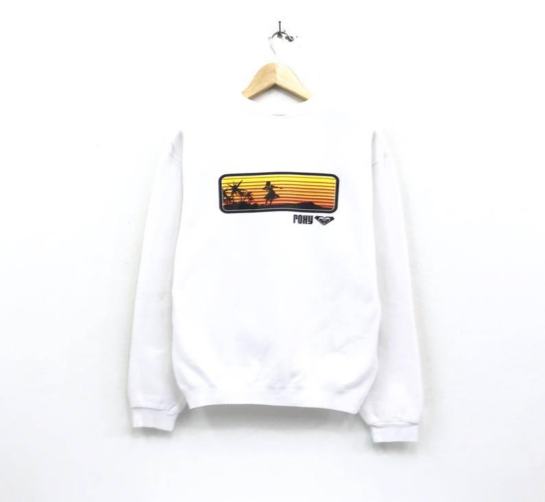 2e5e28767c17f Quicksilver roxy crewneck Sweatshirt jumper big print spell out logo  pullover / surfing style / streetwear / hawaii shirts