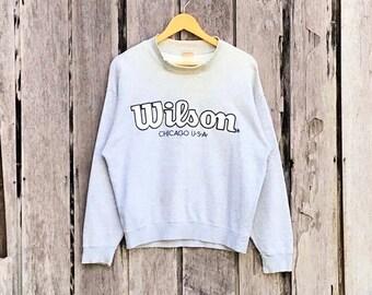 Vintage!!! Rare 90's Wilson spell out chicago usa big logo Sweatshirt / jumper