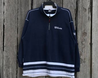 Vintage !! Rare 90's wilson spell out small logo sweatshirt jumper