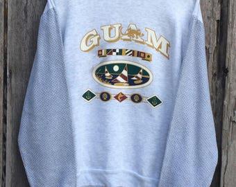Vintage!! Rare 90's Guam Spells Out Big Logo Sweatshirt