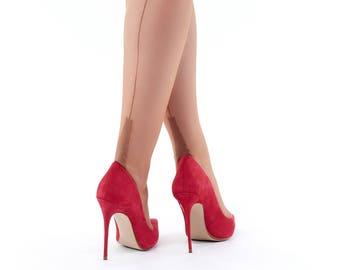 "Garter Stockings, Seamed Nylons, French real stockings 100% Nylon sizes XS -  XL, ""Cafe au Lait"" Original 1960s pattern"