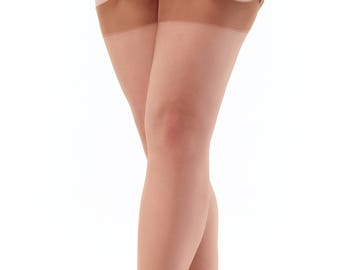 "Garter Stockings, Seamless Nylons, French real stockings 100% Nylon sizes XS -  XL, ""Cacao"" Original 1960s pattern"