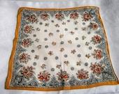 Vintage 1930s 30s 1940s 40sYellow Cream Orange Brown Floral Print Silk Crepe Hankie Handkerchief