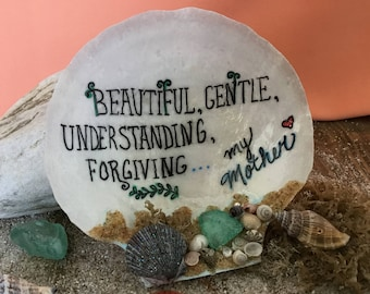 Mother's Birthday Gift, Custom Gifts, Painted Shell,One of a Kind Gifts, Personalized Gifts, Beach Decor, Gift for Mom