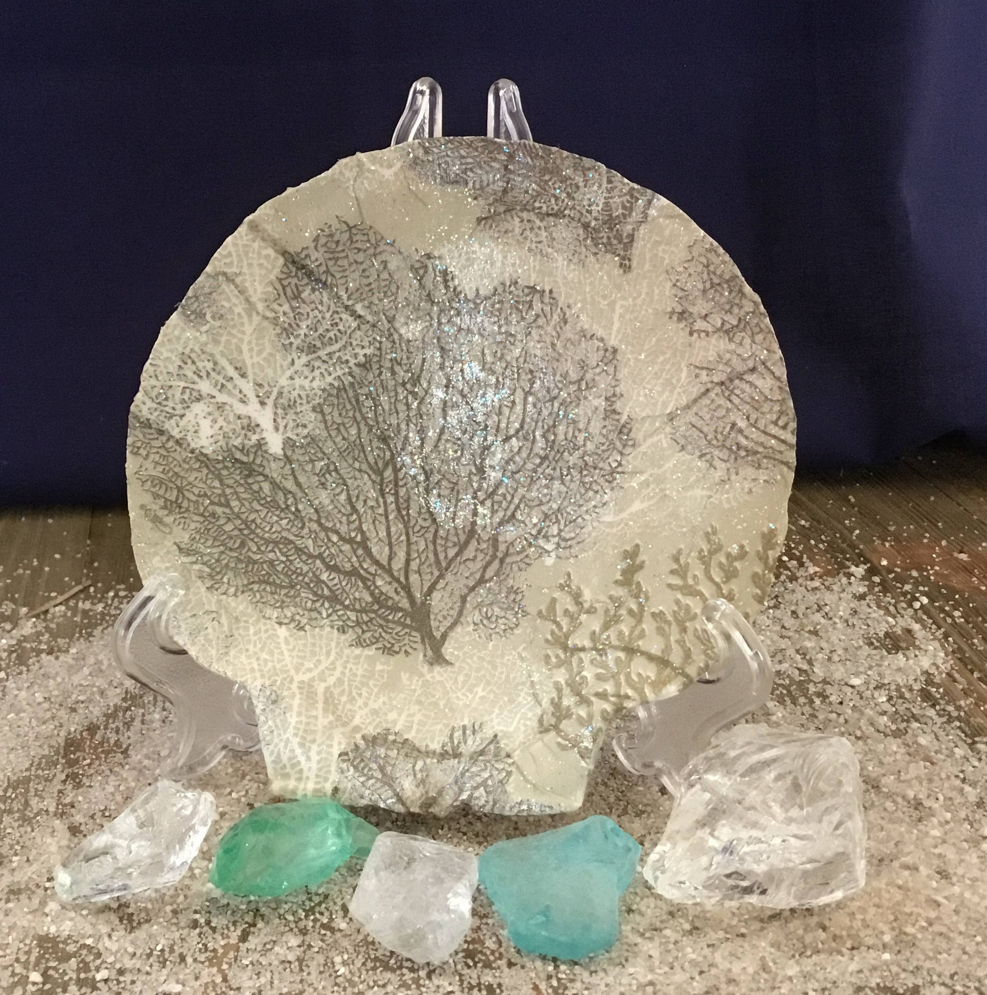 Sea Fan Coral, Marine Sea Life, Coastal Decor, Coastal Bathroom Decor,  Nautical Decor, Sea Fan Art On Scallop Shell, Unique Beach Decor