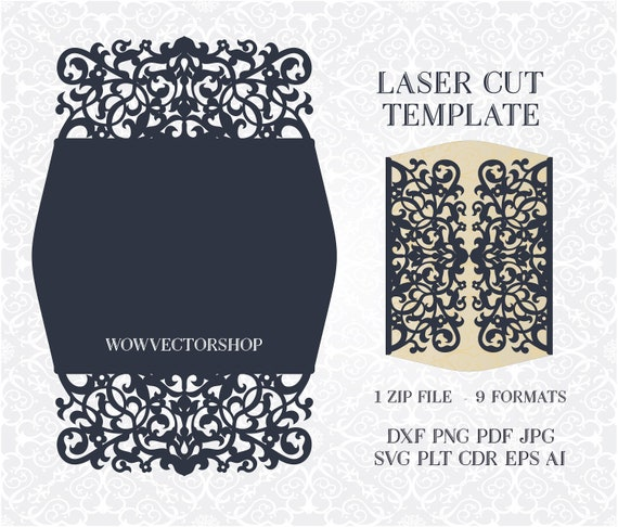 Svg Pdf Dxf Png Cdr Papercutting Template Silhouette Cameo Laser Cut Wedding Invitation Card Template Svg Lace Card Cutting File