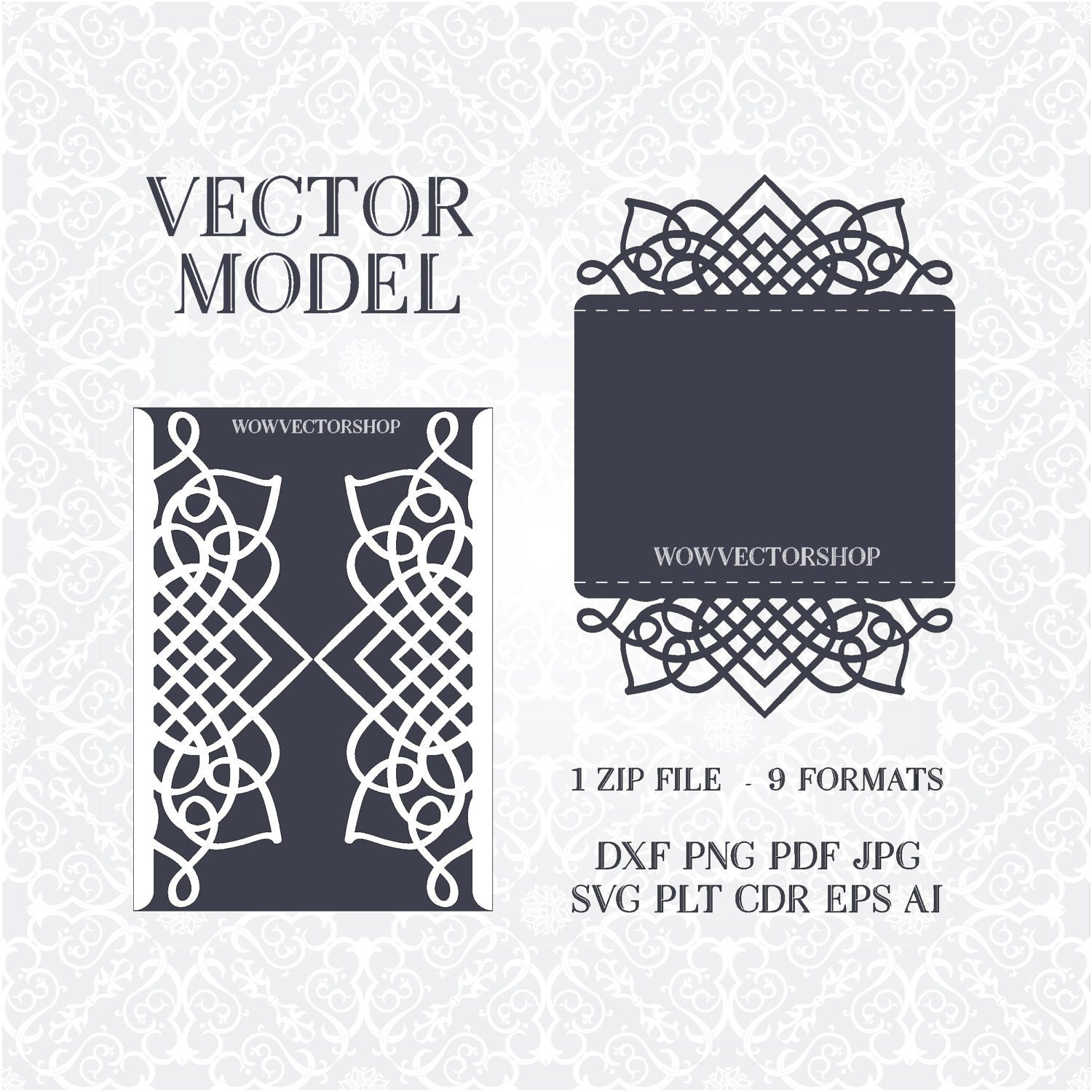 Laser cut Envelope Template for wedding invitation or greeting card ...
