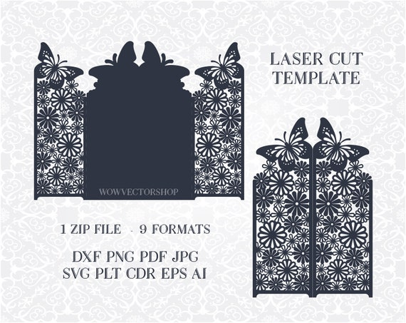 Wedding Invitation Stationery Pattern Card Templates Svg Files Lace Folds Svg Dxf Ai Eps Png Pdf Lasercut Stencil Silhouette Cameo