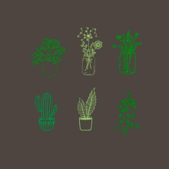 4x4 Wildflower machine embroidery design Plant embroidery design Houseplant embroidery designs Embroidery design flowers grass Hoop