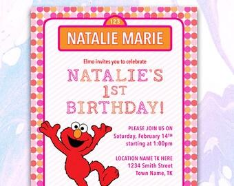 Elmo Invitation, Elmo Birthday Invitation, Elmo Invite, Sesame Street Invitation, Elmo Printable, Elmo Invite Template,DIGITAL FILE