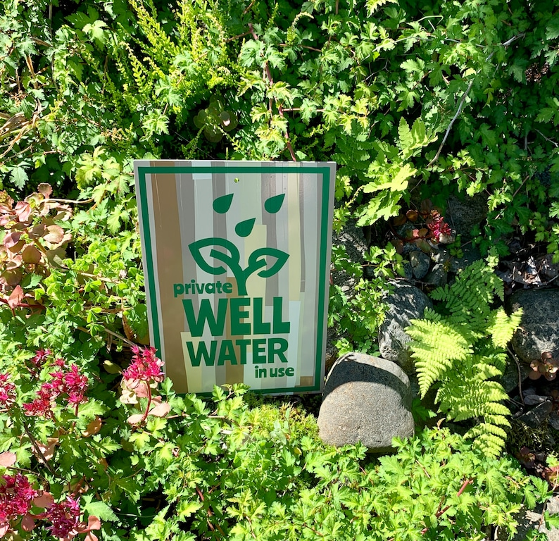 One-of-a-kind Custom Aluminum Private Well Water In Use Sign image 0