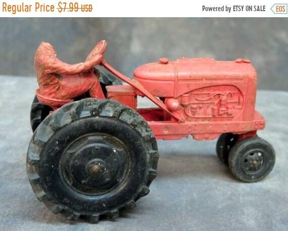 auburn rubber farm tractor w driver 572 red w black tires etsy