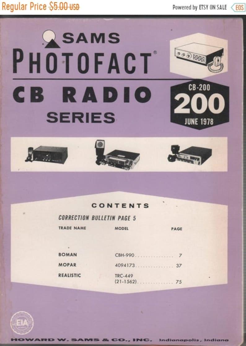 On Sale Sams Photofact CB Radio Series, CB 200 June 1978 Boman, Mopar,  Realistic