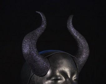 Demon Horns | Black Glitter | Elastic Fastening | For Costume And Cosplay