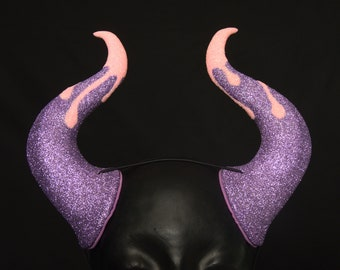 Demon Horns | Drip Look Glitter | Elastic Fastening | For Costume And Cosplay