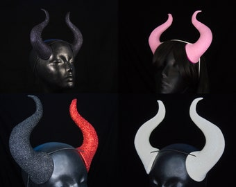 Demon Horns | Pick Your Glitter Colours | Create Your Own | Elastic Fastening | For Costume And Cosplay