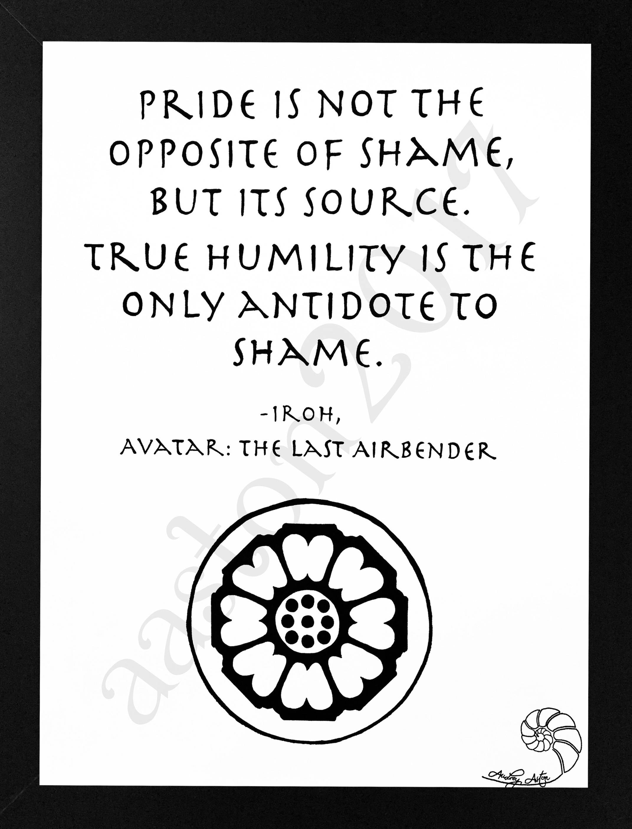 Avatar The Last Airbender Iroh Hand Drawn Quote Pride Is Etsy