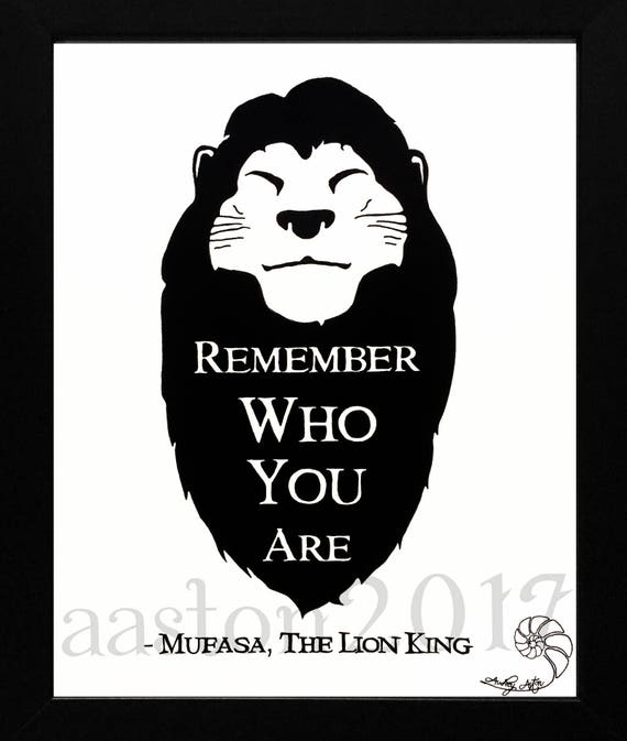 The Lion King Disney Mufasa Hand Drawn Quote Remember Etsy