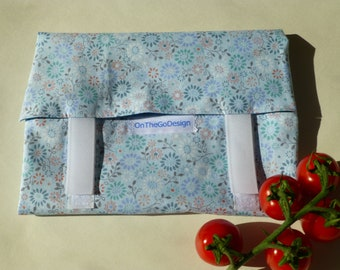 OnTheGoSandwich Sandwich BIG Wrap: aqua blue flowers