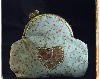Medium Kiss-Lock Purse Handbag with Hand-Applique - Vintage, Victoriana, Bridal 3179
