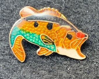 Large Small Mouth Fish Bass Lapel Pin Back Gold Toned Duel Posts Heavy Thick