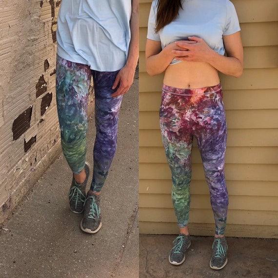 Organic Cotton Jersey Leggings NON Pilling Beautiful Blue Purple Mauve Hand Dyed