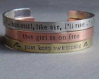 Custom cuff stacking bracelets - hand stamped - mantra bracelets - personalized bracelet