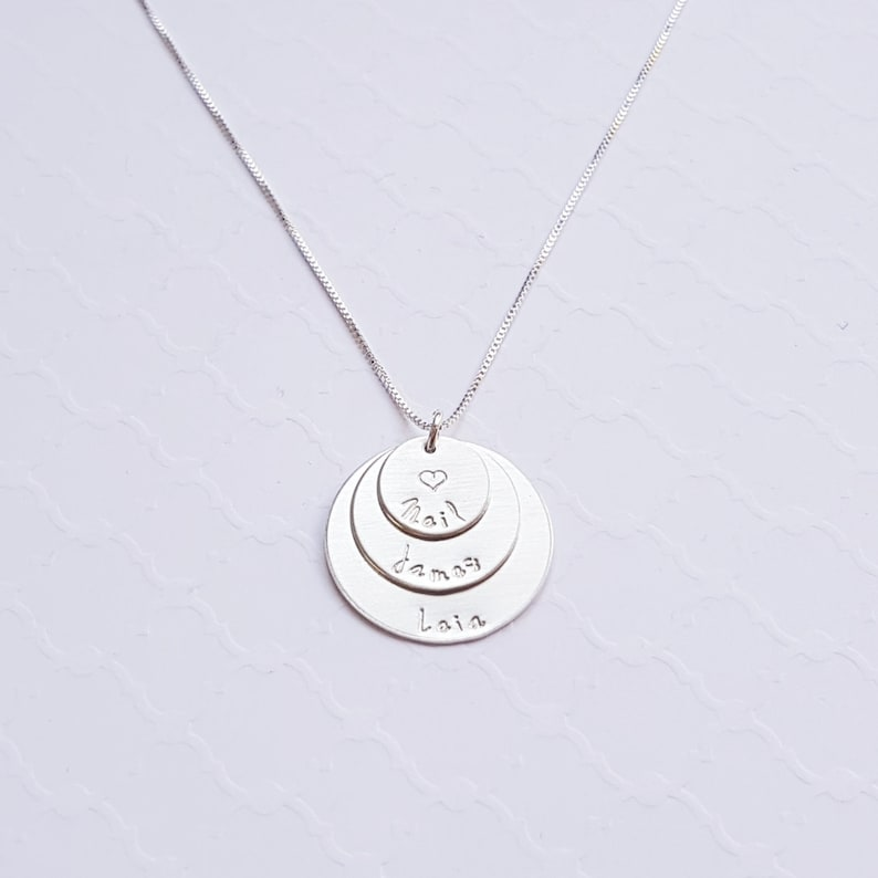 70f9947c6242f Mom 3-layer sterling necklace - hand stamped pendant - grandma necklace -  children's names - family necklace
