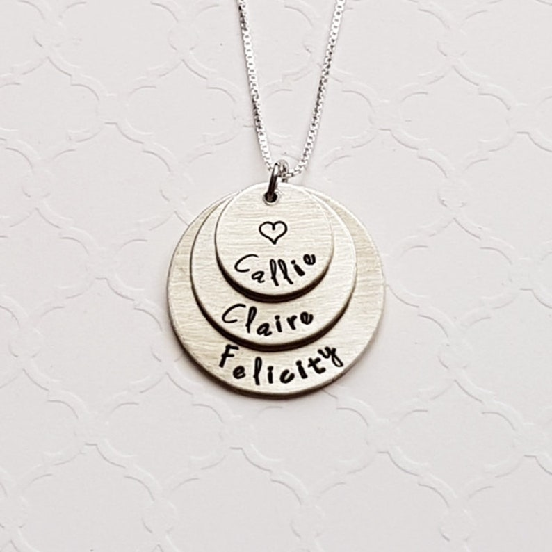 7e3cc41510b2f Mom 3-layer pewter necklace - hand stamped pendant - grandma necklace -  children's names - family necklace