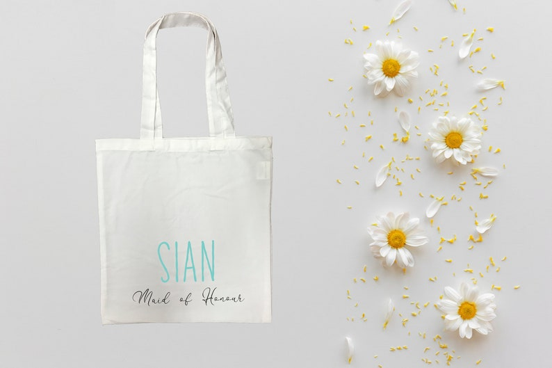 Your Name Unique Bride tribe Blue Personalised Maid of Honour Tote Bag Hen Party Blue Writing Wedding Gift