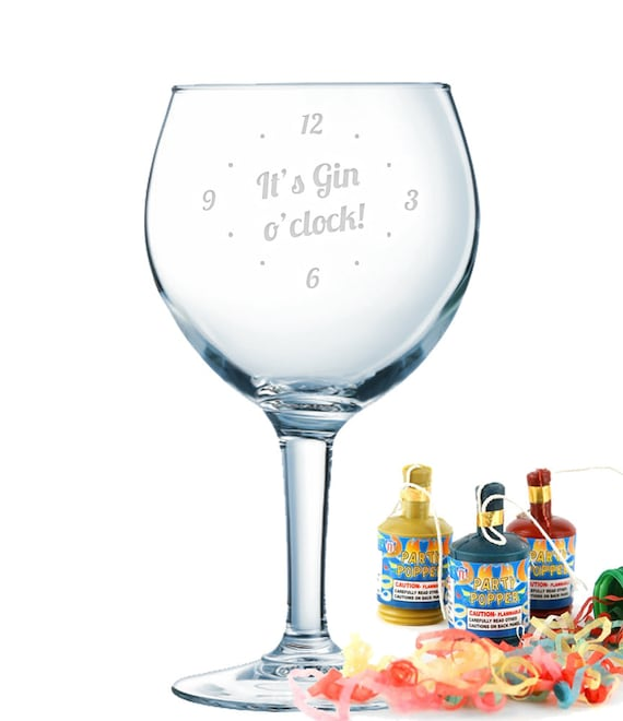 Engraved It/'s always GIN O/'CLOCK Thick Stem Gin Glass