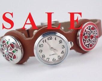 Sale! Wristwatch, Leather Watch, Watch, Snap Button, Buttons, Quartz Watch, Genuine Leather, Bracelet