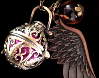 Angel wings ball of Sound Rufer Medallion jewelry ball Jewelry Pendant Pendant 70003 Vintage angel Cage silver