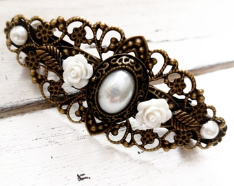 embellished hair clip, vintage style, hair accessories, wedding, party, communion, gem, cabochon, bronze