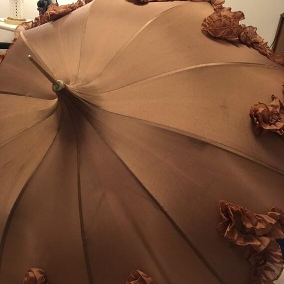 Brown vintage pagoda shaped parasol/umbrella