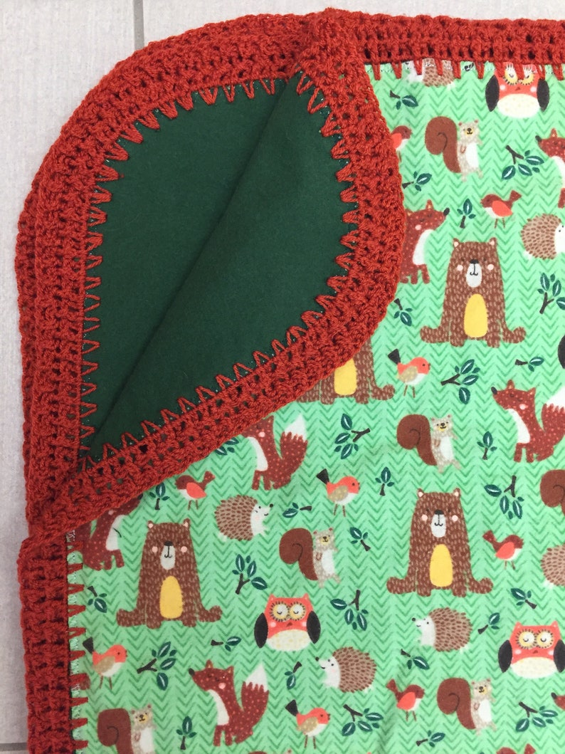 Woodland Flannel Baby Blanket With Crocheted Edge Animal Etsy