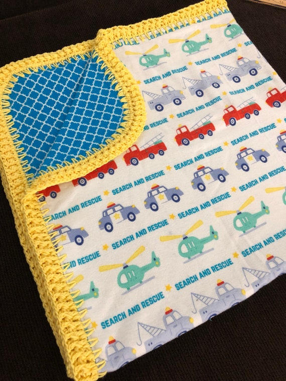 Search And Rescue Flannel Baby Blanket With Crocheted Edge Etsy
