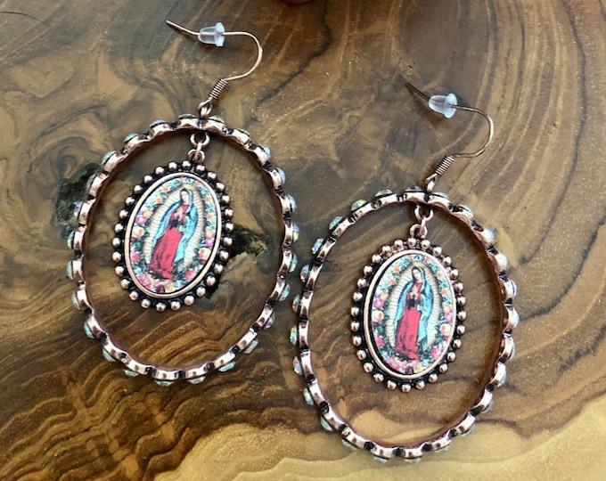 Virgencita Hoop Earrings