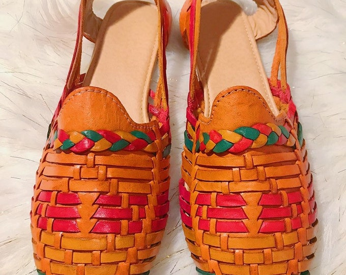 Braided Orange Leather Women's Shoe
