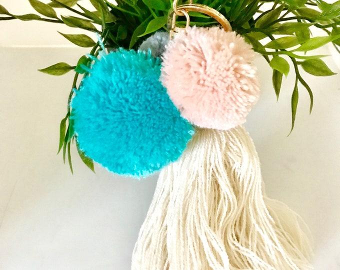 Pastel Pompom Keychain