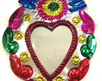 Tin Mirror Heart Decor