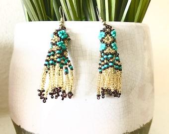 Rodeo Girl Earrings- Blue/Gold