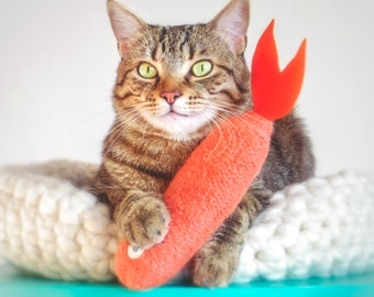 Cat Toys. Coral Salmon. Luxury Cat Toy. Gifts For Cats. Catnip Fish. Organic Catnip Toy. Felt Cat Toy. Toys For Cats.