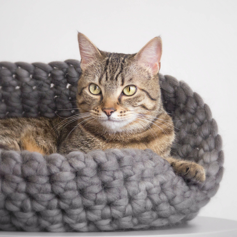 Huisdier Bed Kat De Mand Luxe Pet Beddengoed Grijze Etsy