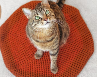 Pet Bedding. Cat Mat. Cat Blanket. Crochet Blanket. Orange With Red. Crochet Cat Mat. Chunky Wool Pet Bed. Chunky Wool Bed