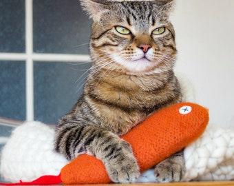 Cat Toy. Catnip Toy. Organic Cat Toy. Organic Catnip. Orange Cat Toy. Toy Fish. Luxury Cat Toys. Catnip Fish. Goldfish. Catnip Kicker.