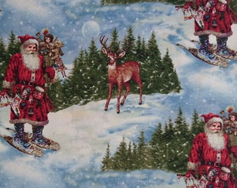 traditional christmas fabric 100% cotton patchwork quilting sewing