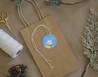 Happy Hanukkah round gift tag with illustrated snowy bear in green scarf – set of 12