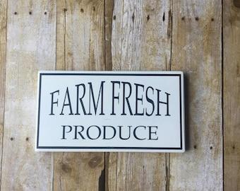 Farmhouse Decor / FARM FRESH PRODUCE / Black & White wood sign, sign, Farm House Decor