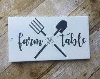Farmhouse Decor / FARM TO TABLE / Black & White wood sign, sign, Farm House Decor